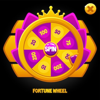 Roue de rotation violette pour le jeu. roue de la fortune avec l'interface utilisateur de la couronne.