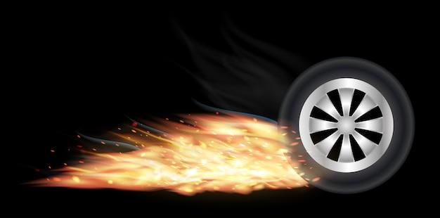 Roue de véhicule avec le feu brûlant