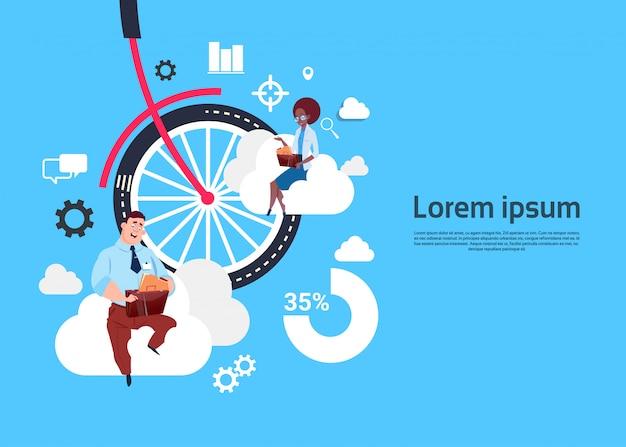 Roue de vélo avec modèle de fond de gens d'affaires