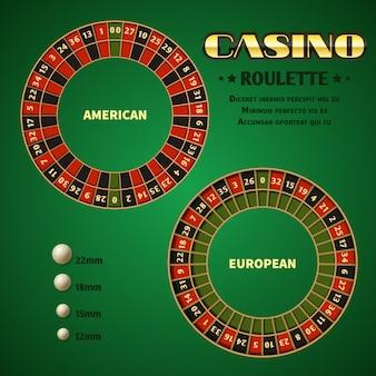 Roues de mouvement de roulette de casino américain et européen avec boule blanche.