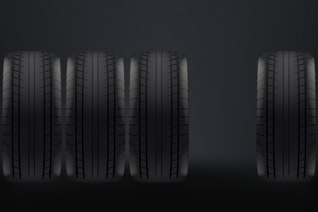 Roues de voiture sur sombre