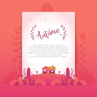 Rouge automne fleurs belles dégradés pour carte d'invitation
