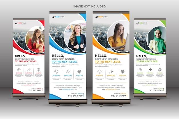 Rouge bleu jaune vert corporate roll up banner template design layout