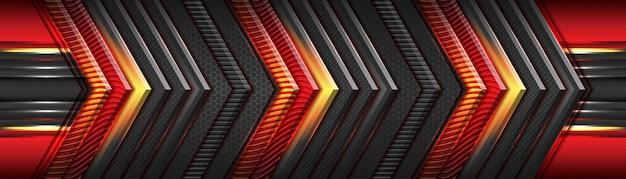 Rouge futuriste moderne et gris foncé avec design de chevauchement de luxe direction métallique or