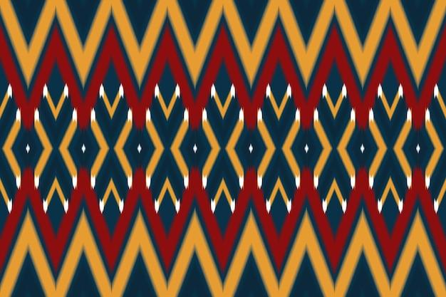 Rouge, jaune sur marine motif traditionnel harmonieux d'ikat oriental géométrique ethnique asiatique. conception pour l'arrière-plan, tapis, toile de fond de papier peint, vêtements, emballage, batik, tissu. style de broderie. vecteur