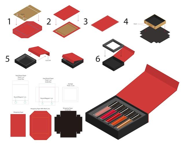 Rouge à lèvres aimant rigide boîte de produit simulacre dieline