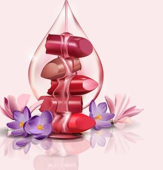 Rouge à lèvres cassé de luxe féminin avec une goutte de miel d'huile de rose pour une maquette réaliste de maquillage