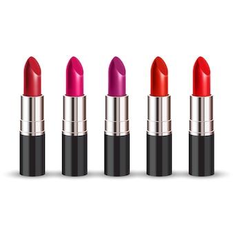 Rouge à lèvres de couleur sur blanc