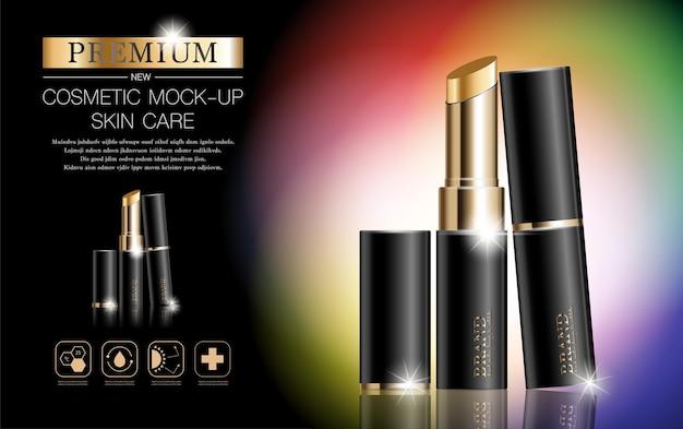 Rouge à lèvres hydratant pour le visage pour vente annuelle ou vente de festival bouteille de masque de rouge à lèvres noir et or