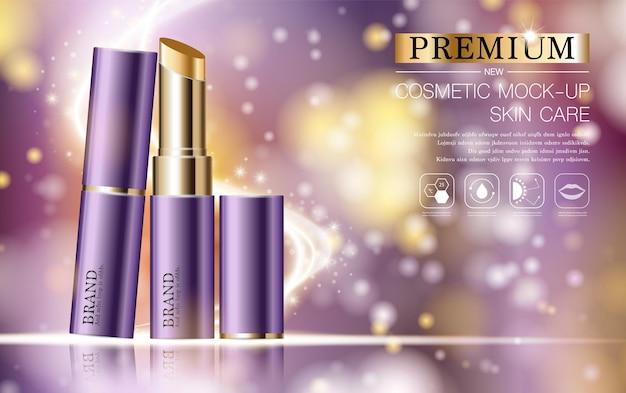 Rouge à lèvres hydratant pour le visage pour vente annuelle ou vente de festival bouteille de masque de rouge à lèvres violet et or