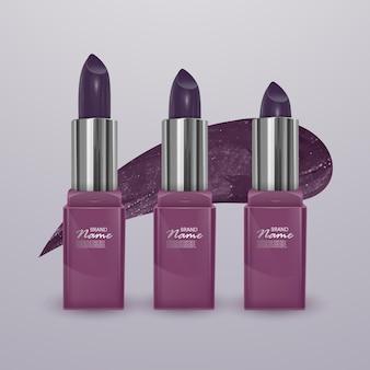 Rouge à lèvres réaliste de couleur cerise foncé avec un trait de rouge à lèvres. illustration 3d, design cosmétique à la mode