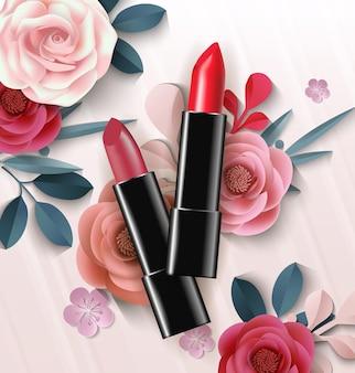 Rouge à lèvres rouge sur fond de belles fleurs en papier. fond de beauté et de cosmétiques. utilisation pour dépliant publicitaire, bannière, dépliant. vecteur de modèle.