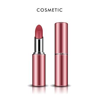 Rouge à lèvres, rouge à lèvres élégant isolé sur blanc en illustration 3d