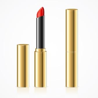 Rouge à lèvres rouge réaliste dans un ensemble de tubes en métal doré version ouverte et fermée. cosmétique professionnelle décorative pour femme. illustration vectorielle