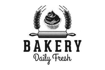 Rouleau à pâtisserie, cupcake et blé, logo de la boulangerie Inspirations isolées sur fond blanc