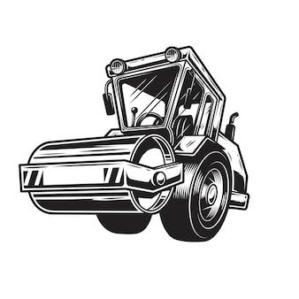 De rouleau compresseur couleur sur fond blanc. style monochrome