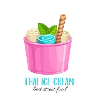 Rouleau de crème glacée thaïlandaise avec gaufre. dessin animé icône plate dessert rafraîchissant été