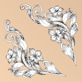 Rouleau de dessin à la main de style baroque