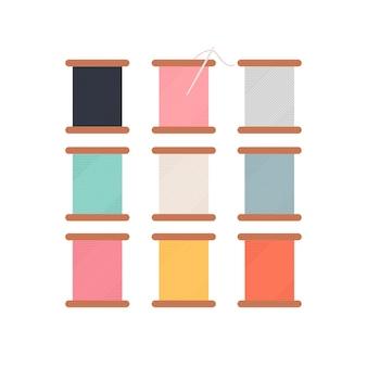 Rouleau de fils colorés icône illustration