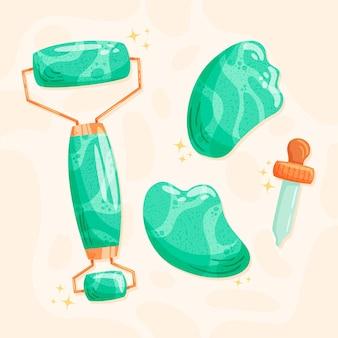 Rouleau de jade dessiné à la main et illustration de gua sha