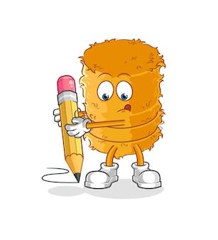 Le rouleau de paille écrit avec un crayon. mascotte de dessin animé