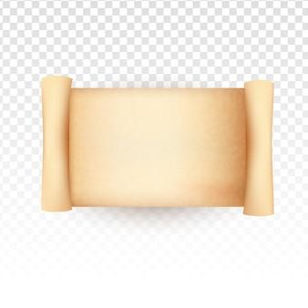 Rouleau de papier ancien sur fond transparent blanc