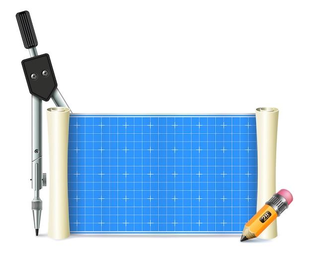 Rouleau de papier pour les dessins techniques et l'informatique. aussi boussole géométrique et crayon, isolé.
