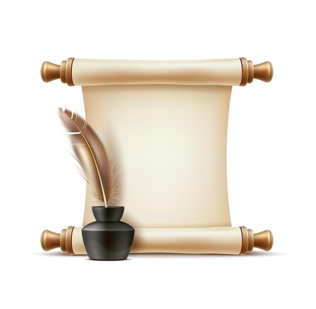 Rouleau de papier réaliste et stylo plume dans une bouteille d'encre