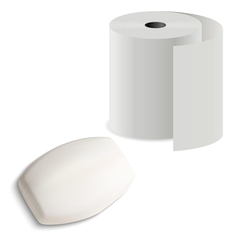 Rouleau de papier toilette avec barre de savon, illustration, barre solide réaliste avec cylindre de serviette de cuisine pour l'hygiène