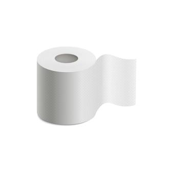 Rouleau de papier toilette blanc avec texture réaliste isolé sur fond blanc