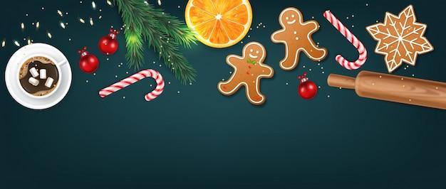 Rouleau à pâtisserie en bois réaliste isolé, fond bleu, éléments de pâte, biscuits, bonbons de noël et orange, joyeux noël, célébration