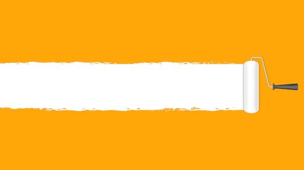 Rouleau à peinture blanc sur fond de mur orange et bannière publicitaire texte espace copie