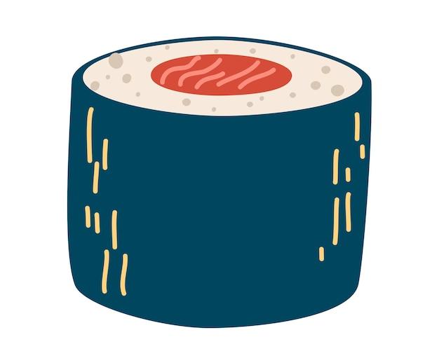 Rouleau de saumon. sushi. riz blanc, sushi, saumon nori. nourriture japonaise. restaurant de cuisine asiatique délicieux. saumon maki. illustration vectorielle dans un style plat de dessin animé isolé sur fond blanc