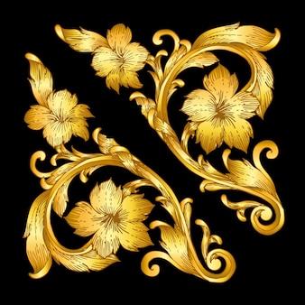 Rouleau de style baroque doré