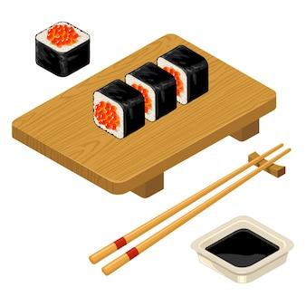 Rouleau de sushi avec des baguettes de caviar sauce soja dans un bol et une planche de bois couleur plate de vecteur
