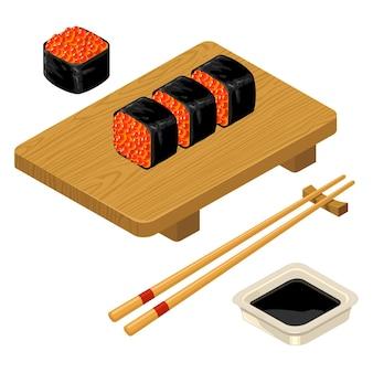 Rouleau de sushi avec des baguettes de caviar sauce soja dans un bol et planche de bois isolé sur l'icône vecteur blanc