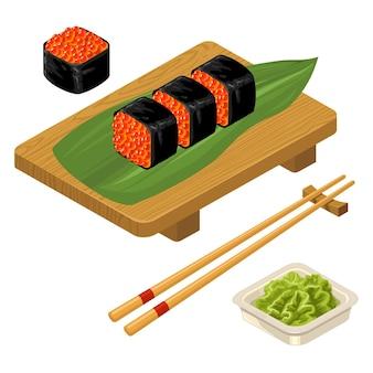 Rouleau de sushi avec des baguettes de caviar wasabi dans un bol et planche de bois isolé sur blanc icône plate de vecteur