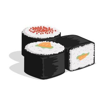 Rouleau de sushi avec nori, riz, saumon et caviar isolés