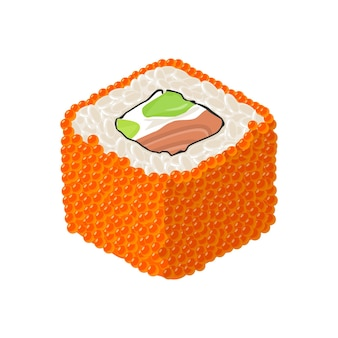 Rouleau de sushi philadelphie avec avocat de fromage à la crème de caviar de poisson isolé sur blanc couleur plate de vecteur