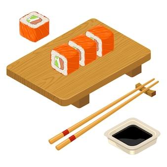 Rouleau de sushi philadelphie avec des baguettes de fromage à la crème de poisson sauce soja dans un bol en bois planche de service