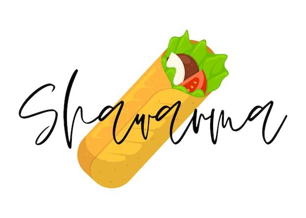 Rouleau de viande de restauration rapide shawarma avec lettrage arabe oriental toasty doner kebab repas dessin animé shaurma