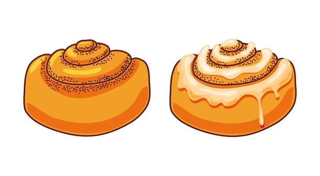 Rouleaux de cannelle avec glaçage au sucre en illustration vectorielle de style dessin animé.