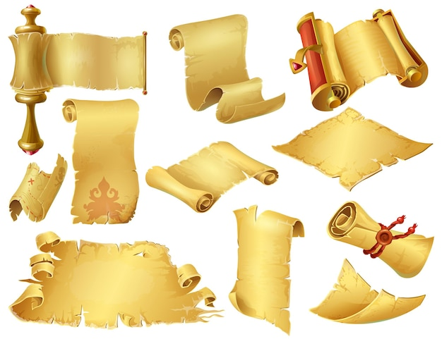 Rouleaux de dessin animé. anciens manuscrits de papyrus et parchemin, vieux rouleaux de papier pour jeux mobiles et informatiques. papier roulé vintage de vecteur, comme le jeu d'ordinateur d'élément sur le backgroun blanc