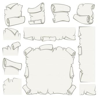 Rouleaux de papier de feuilles de papyrus vieux de vecteur