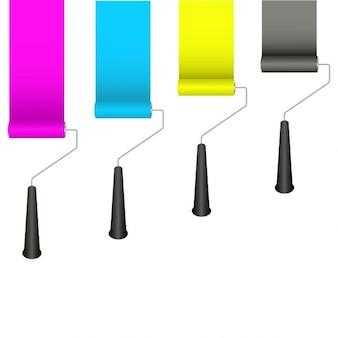 Rouleaux de peinture avec des couleurs cmjn