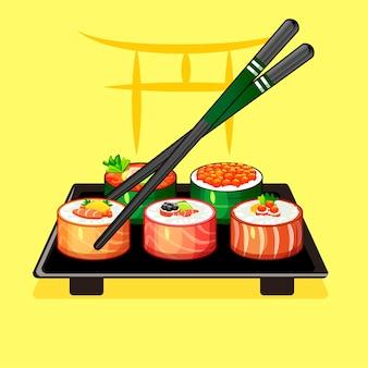 Avec des rouleaux de sushi et des baguettes sur une assiette 2