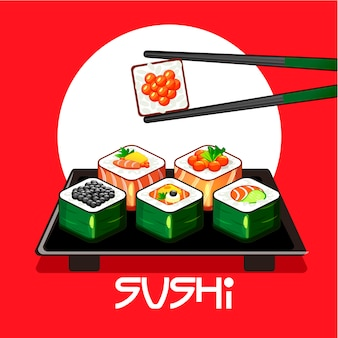 Avec des rouleaux de sushi et des baguettes sur une assiette