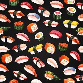 Rouleaux de sushi modèle sans couture sur fond noir