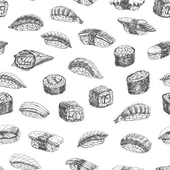 Rouleaux de sushi modèle sans couture, nourriture japonaise monochrome dessinés à la main