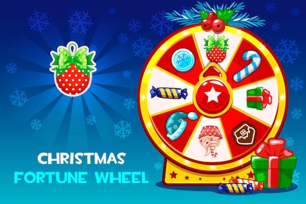Roulette chanceuse de noël de dessin animé, roue de fortune de rotation.